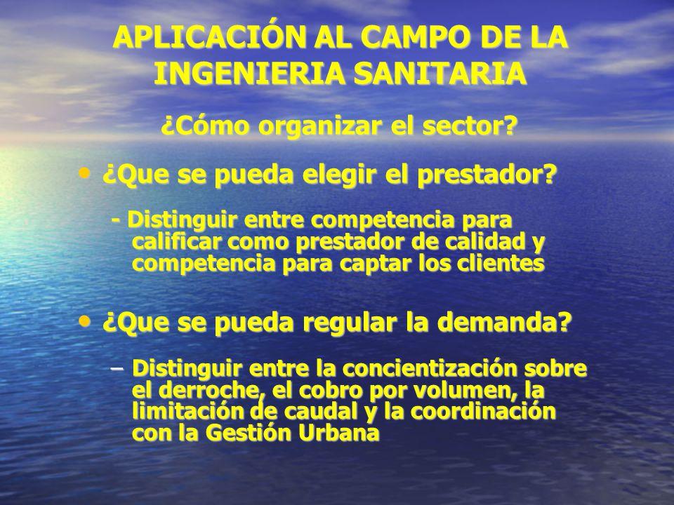APLICACIÓN AL CAMPO DE LA INGENIERIA SANITARIA