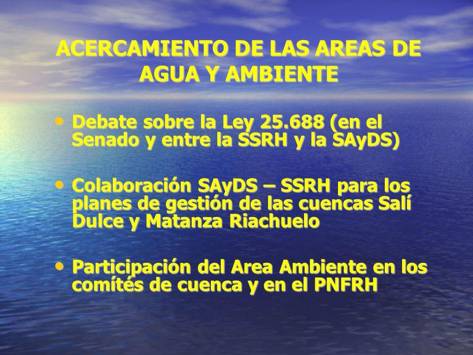 ACERCAMIENTO DE LAS AREAS DE AGUA Y AMBIENTE