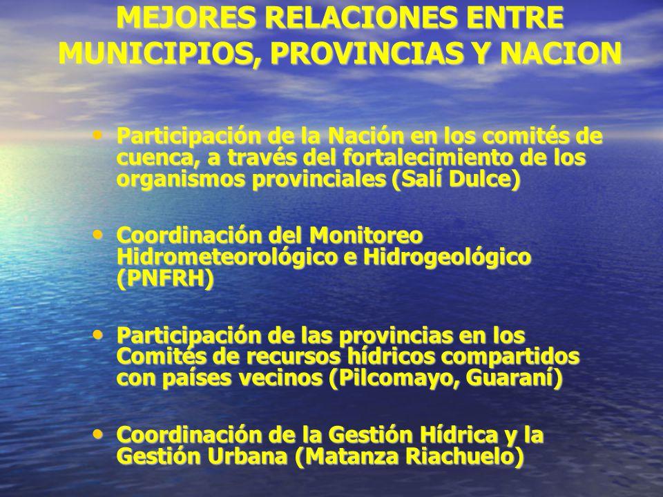 MEJORES RELACIONES ENTRE MUNICIPIOS, PROVINCIAS Y NACION