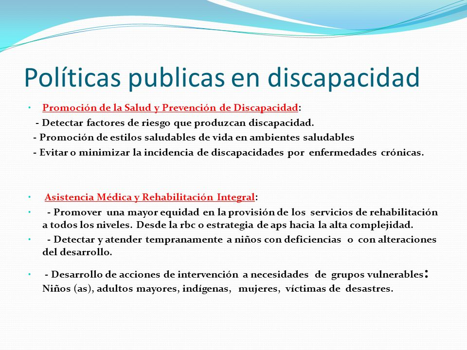 Políticas publicas en discapacidad