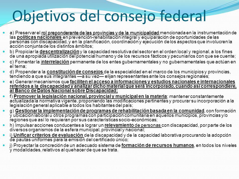 Objetivos del consejo federal