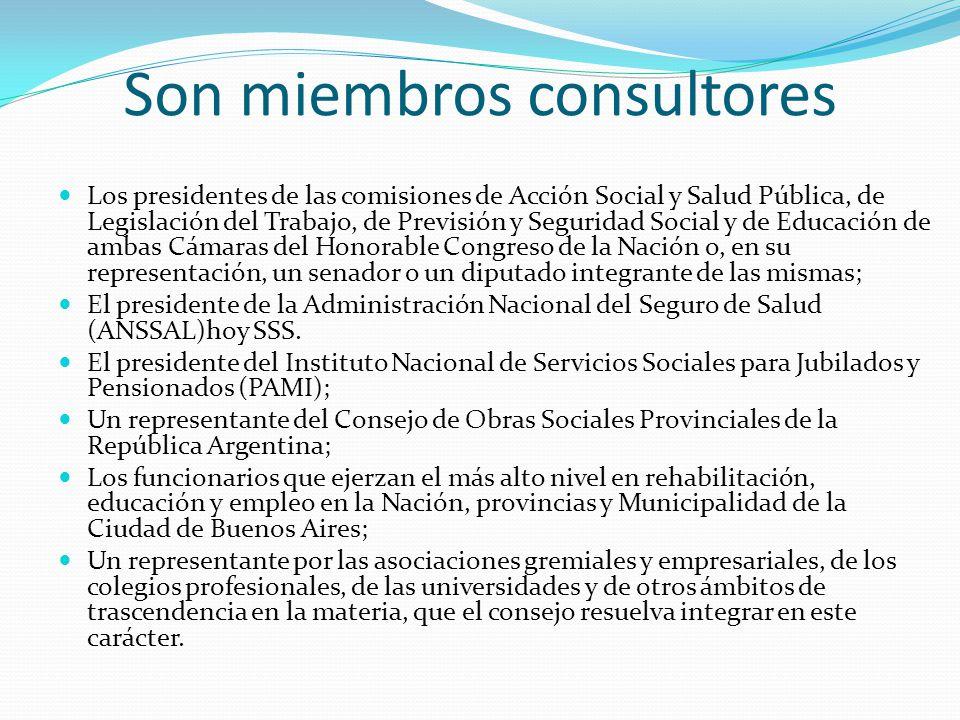 Son miembros consultores