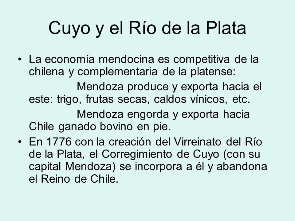 Cuyo y el Río de la Plata La economía mendocina es competitiva de la chilena y complementaria de la platense:
