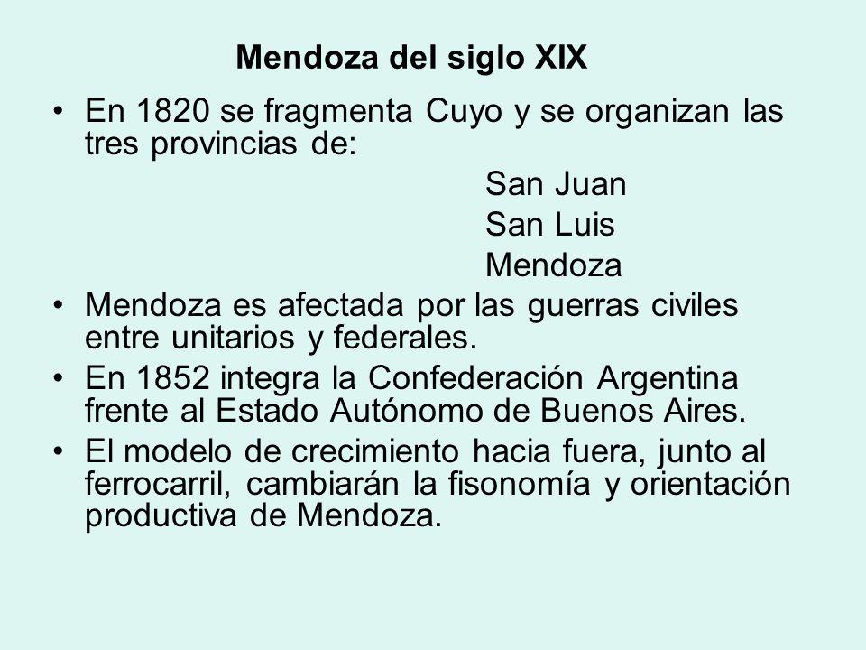 Mendoza del siglo XIX En 1820 se fragmenta Cuyo y se organizan las tres provincias de: San Juan. San Luis.