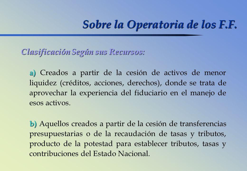 Sobre la Operatoria de los F.F.