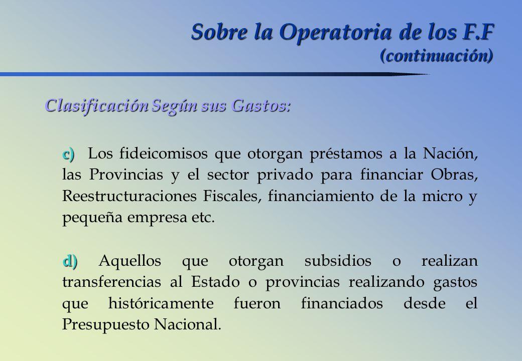 Sobre la Operatoria de los F.F (continuación)