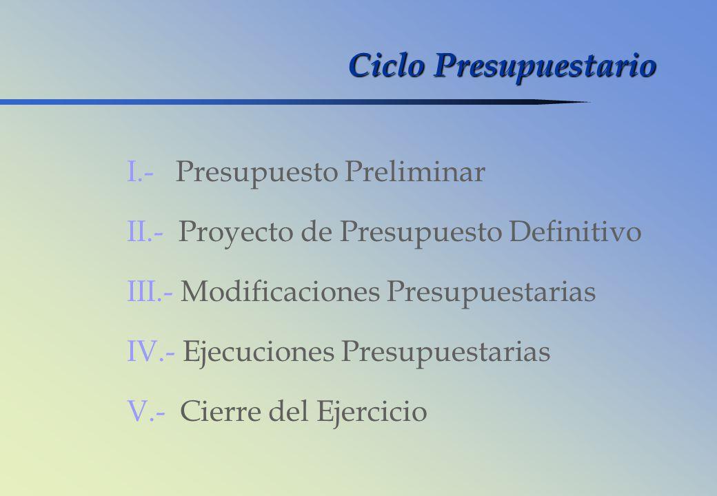 Ciclo Presupuestario I.- Presupuesto Preliminar