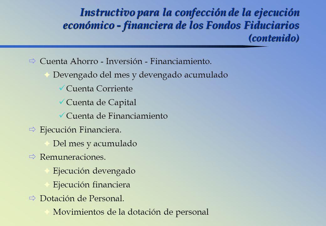 Instructivo para la confección de la ejecución económico - financiera de los Fondos Fiduciarios (contenido)