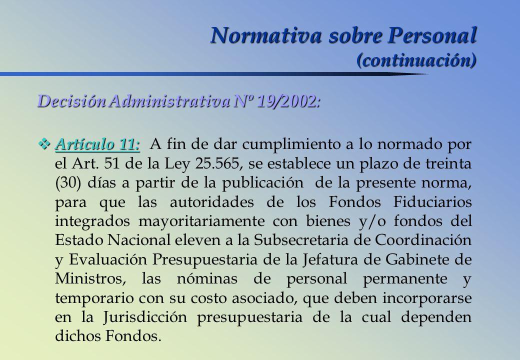 Normativa sobre Personal (continuación)