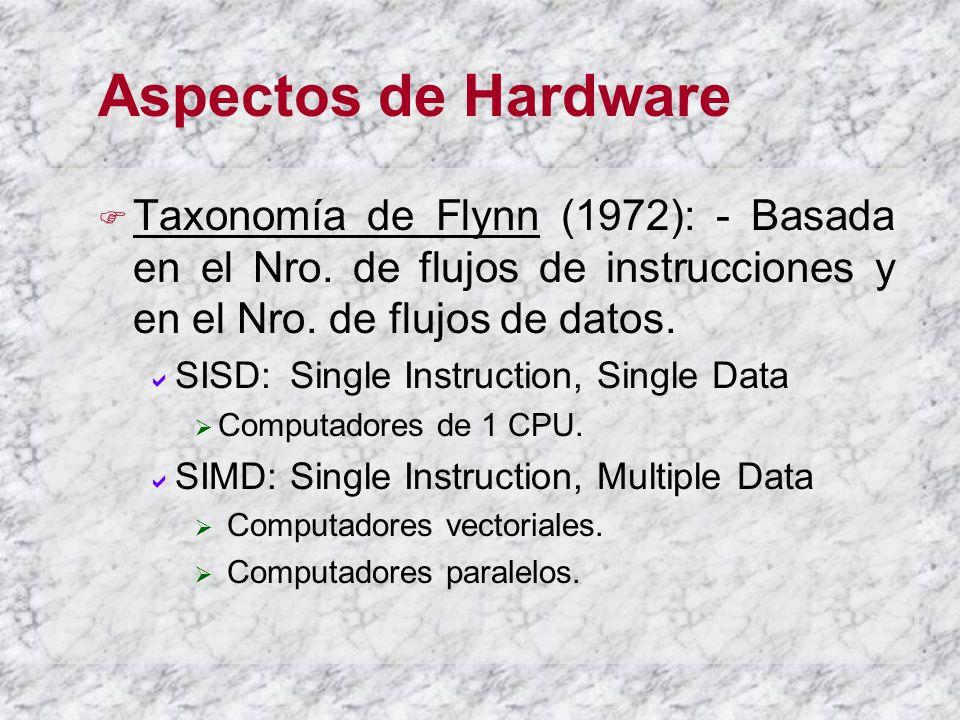 Aspectos de Hardware Taxonomía de Flynn (1972): - Basada en el Nro. de flujos de instrucciones y en el Nro. de flujos de datos.