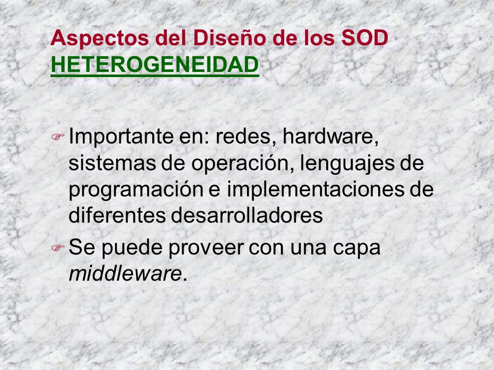 Aspectos del Diseño de los SOD HETEROGENEIDAD