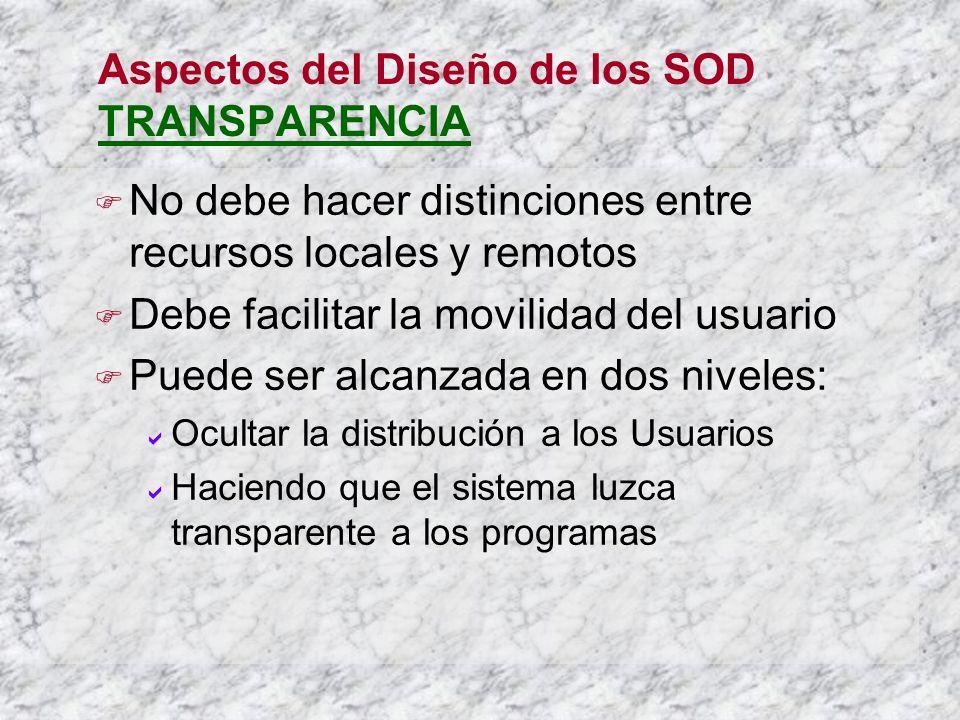 Aspectos del Diseño de los SOD TRANSPARENCIA