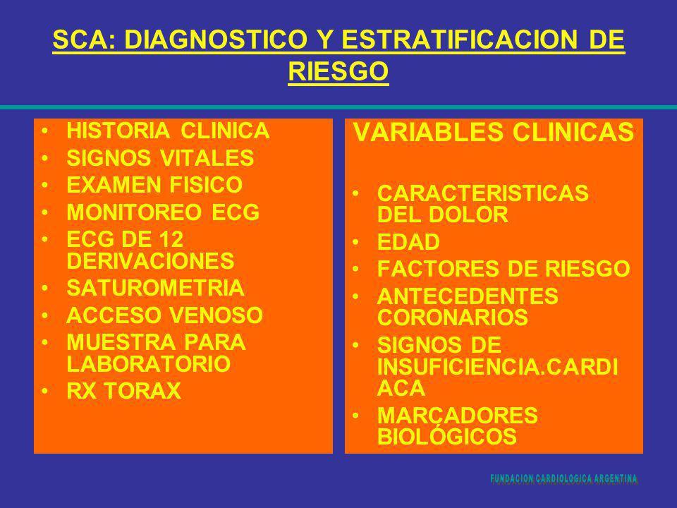 SCA: DIAGNOSTICO Y ESTRATIFICACION DE RIESGO