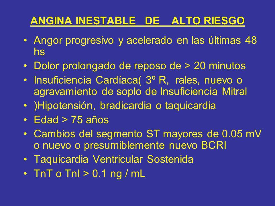 ANGINA INESTABLE DE ALTO RIESGO