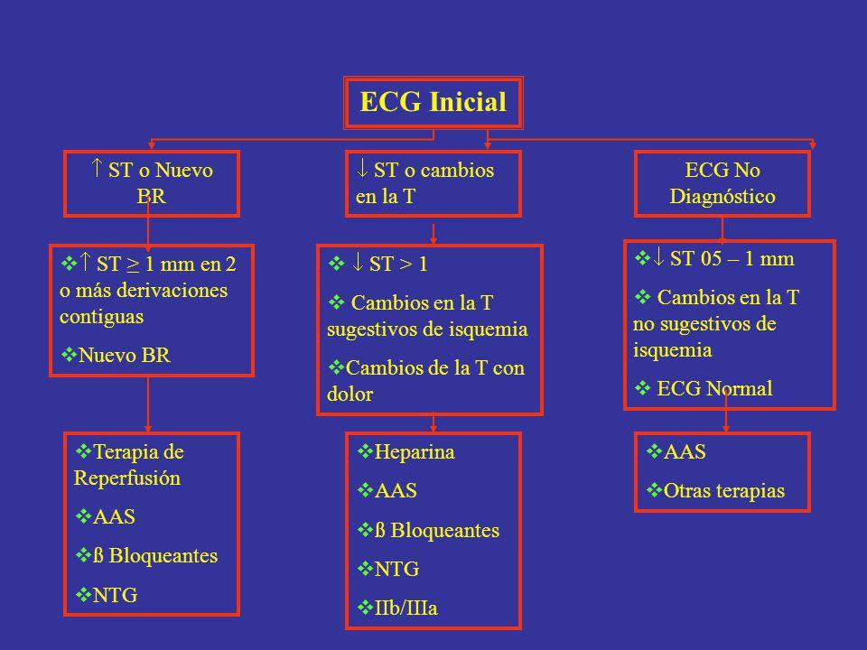 ECG Inicial  ST o Nuevo BR  ST o cambios en la T ECG No Diagnóstico