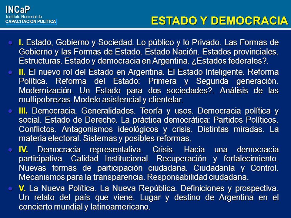 ESTADO Y DEMOCRACIA INCaP