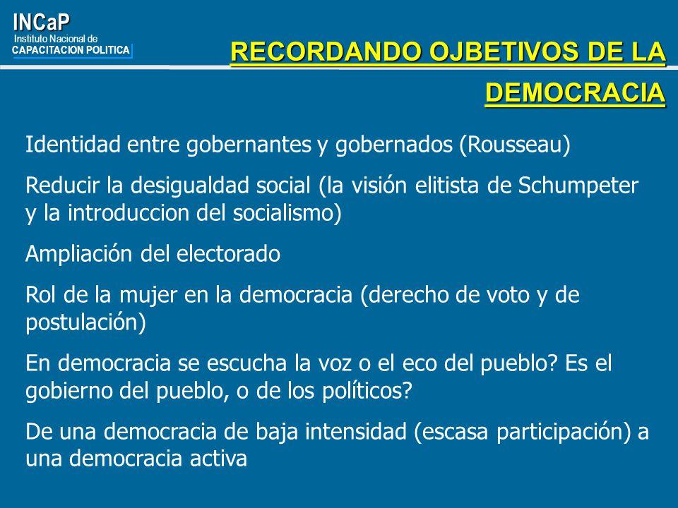 RECORDANDO OJBETIVOS DE LA DEMOCRACIA