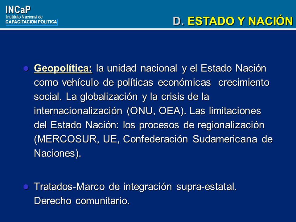 INCaP Instituto Nacional de. CAPACITACION POLITICA. D. ESTADO Y NACIÓN.