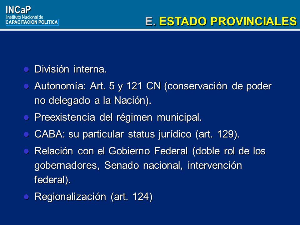 E. ESTADO PROVINCIALES INCaP División interna.