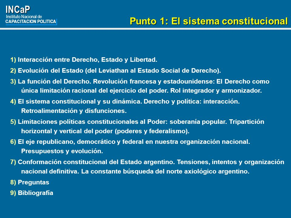 INCaP Punto 1: El sistema constitucional