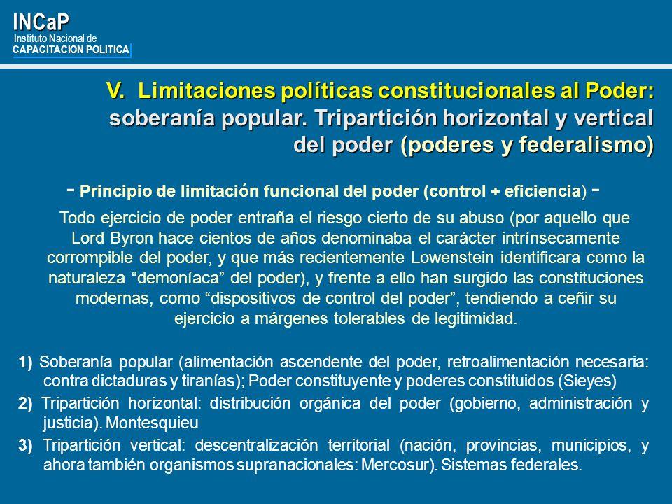 - Principio de limitación funcional del poder (control + eficiencia) -