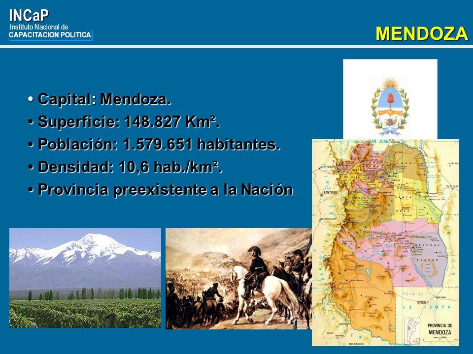MENDOZA INCaP • Capital: Mendoza. • Superficie: 148.827 Km².