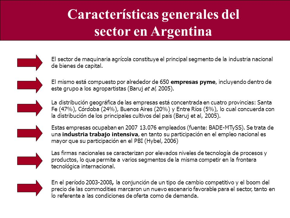 Características generales del sector a nivel local