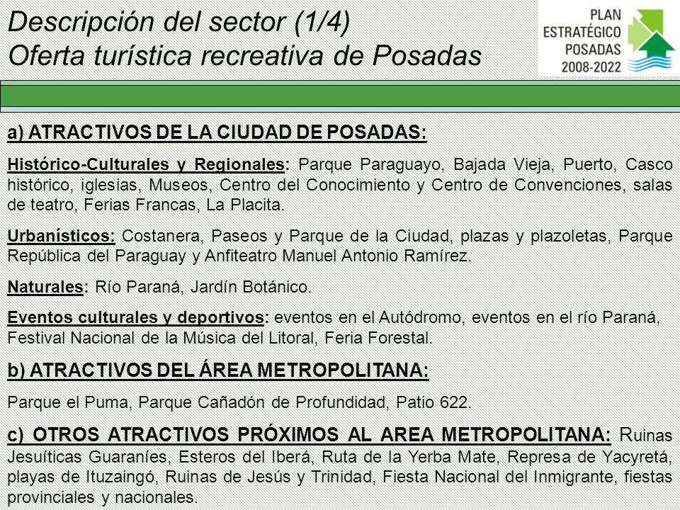 Descripción del sector (1/4) Oferta turística recreativa de Posadas