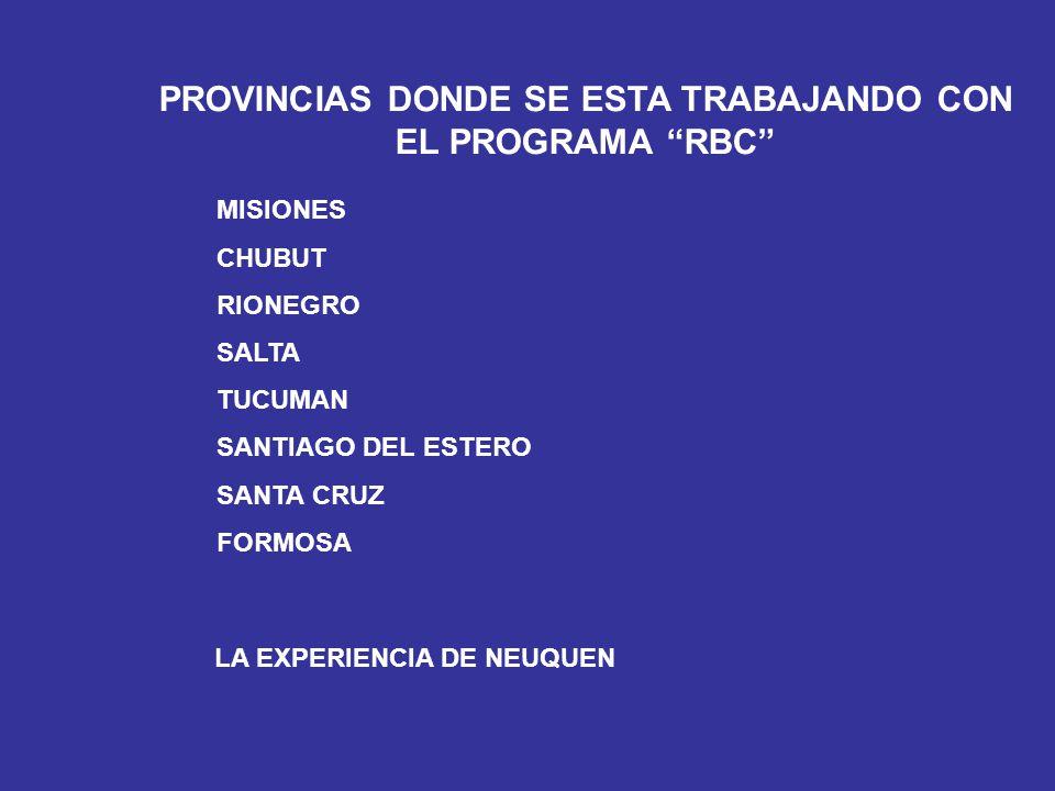 PROVINCIAS DONDE SE ESTA TRABAJANDO CON EL PROGRAMA RBC