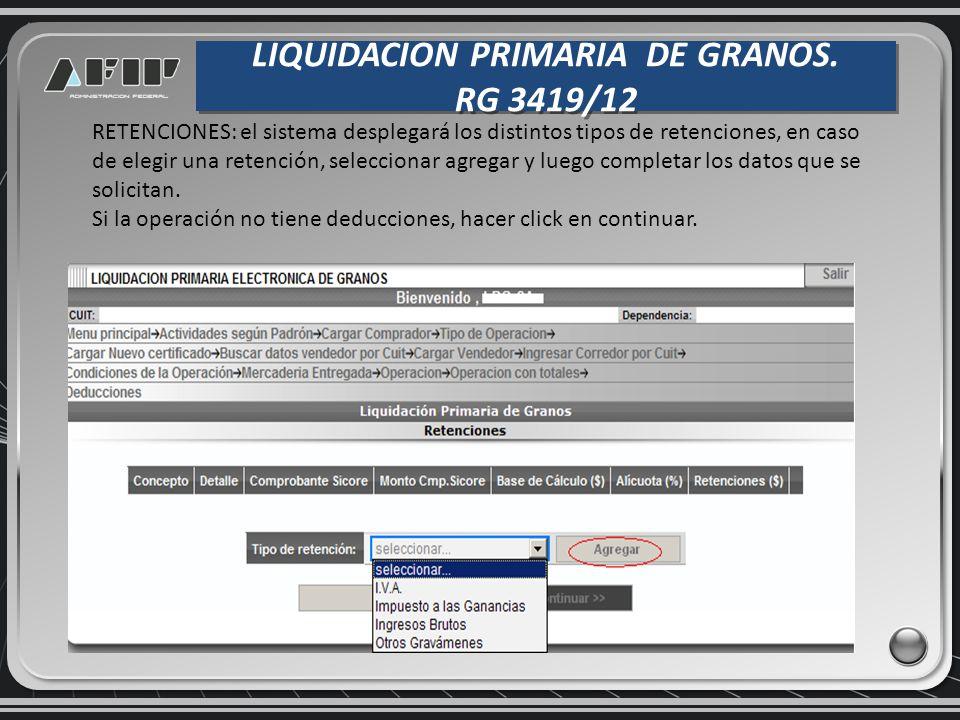 LIQUIDACION PRIMARIA DE GRANOS.