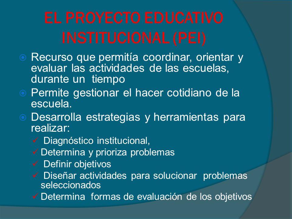EL PROYECTO EDUCATIVO INSTITUCIONAL (PEI)