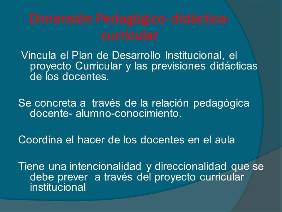 Dimensión Pedagógico- didáctica- curricular