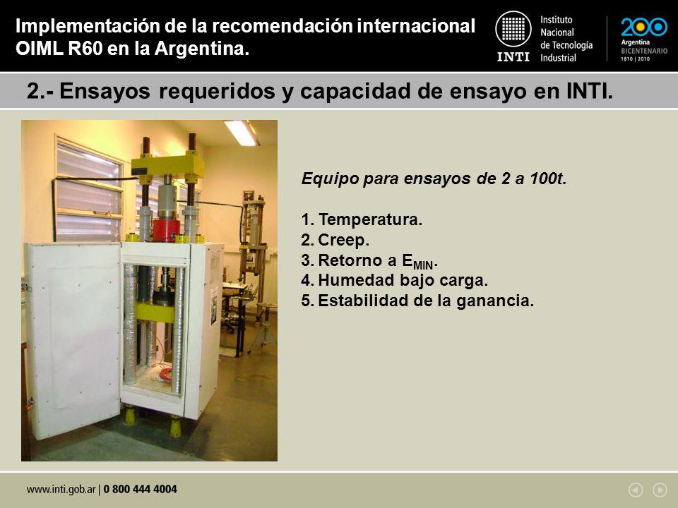 2.- Ensayos requeridos y capacidad de ensayo en INTI.