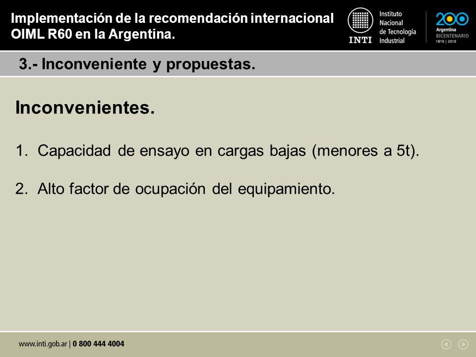 Inconvenientes. 3.- Inconveniente y propuestas.