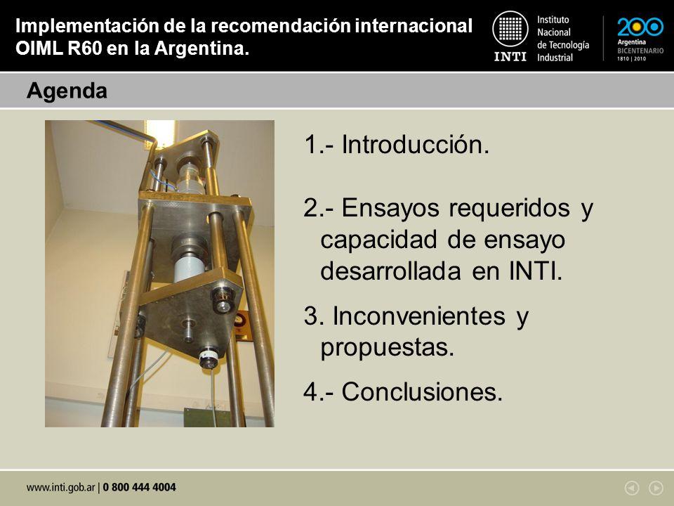- Ensayos requeridos y capacidad de ensayo desarrollada en INTI.