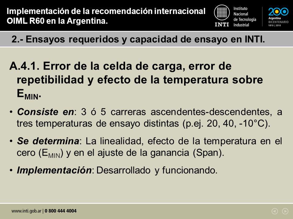Implementación de la recomendación internacional OIML R60 en la Argentina.