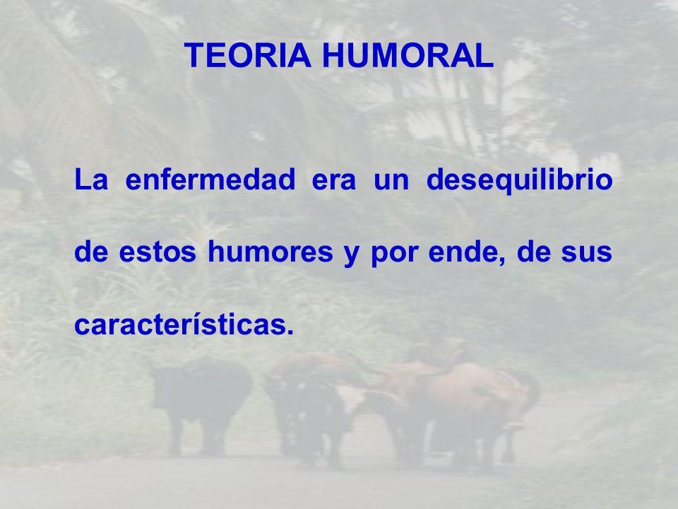 TEORIA HUMORALLa enfermedad era un desequilibrio de estos humores y por ende, de sus características.