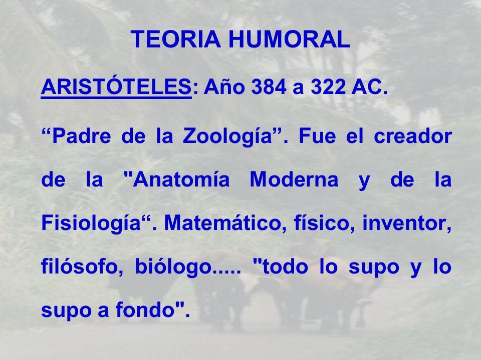 TEORIA HUMORAL ARISTÓTELES: Año 384 a 322 AC.