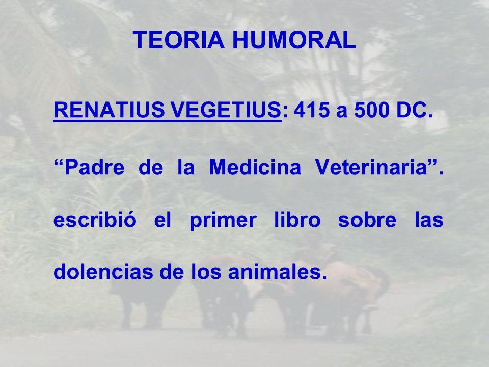 TEORIA HUMORAL RENATIUS VEGETIUS: 415 a 500 DC.