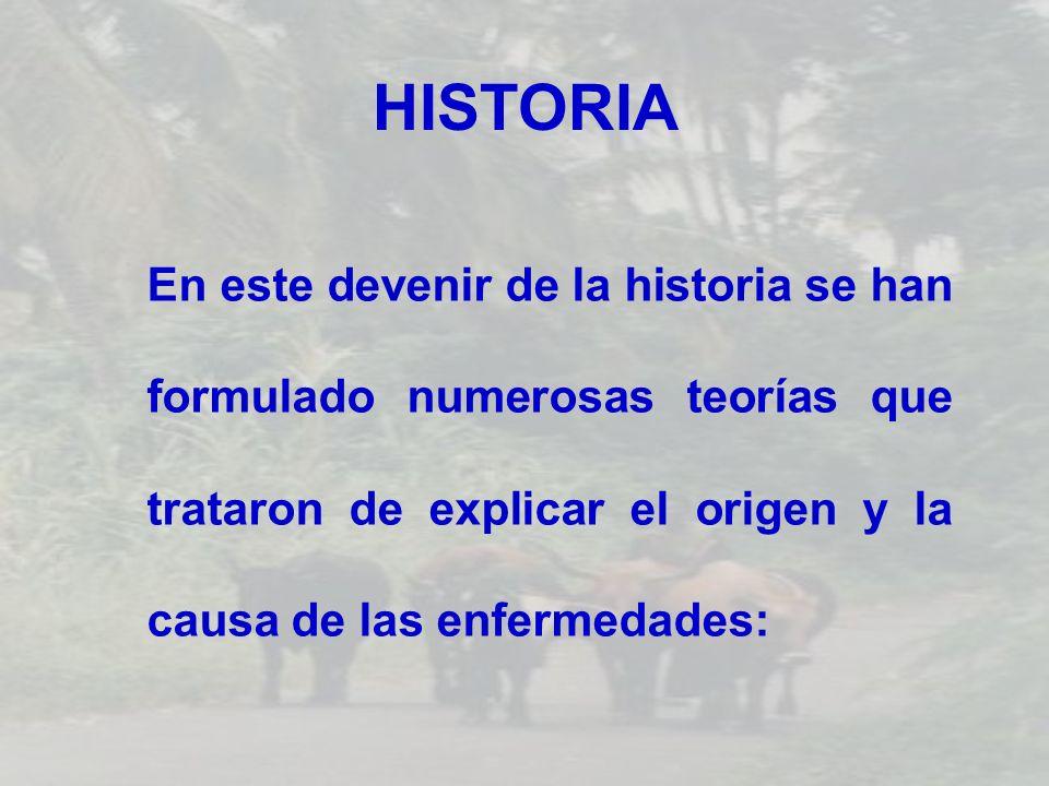 HISTORIA En este devenir de la historia se han formulado numerosas teorías que trataron de explicar el origen y la causa de las enfermedades: