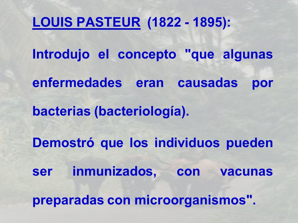 LOUIS PASTEUR (1822 - 1895):Introdujo el concepto que algunas enfermedades eran causadas por bacterias (bacteriología).