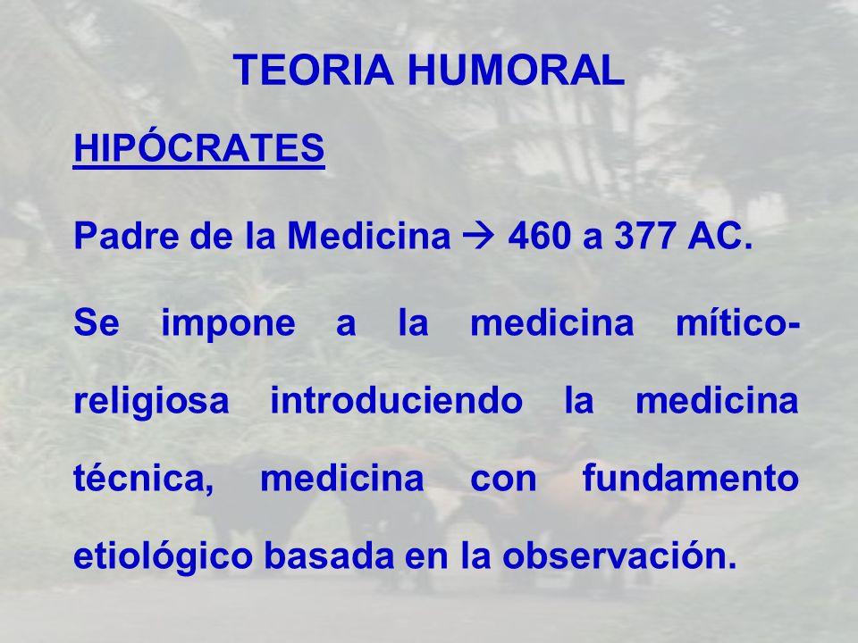 TEORIA HUMORAL HIPÓCRATES Padre de la Medicina  460 a 377 AC.