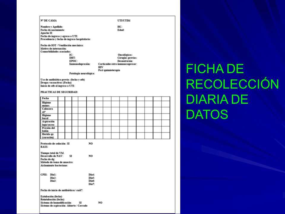 FICHA DE RECOLECCIÓN DIARIA DE DATOS