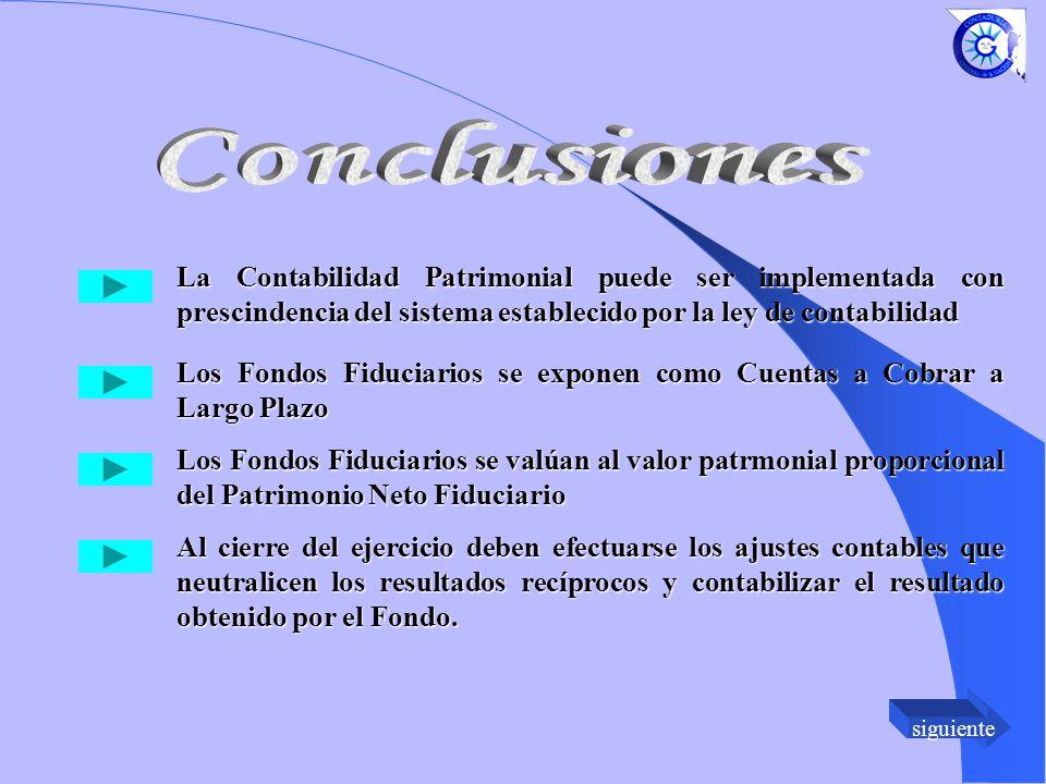 Conclusiones La Contabilidad Patrimonial puede ser implementada con prescindencia del sistema establecido por la ley de contabilidad.