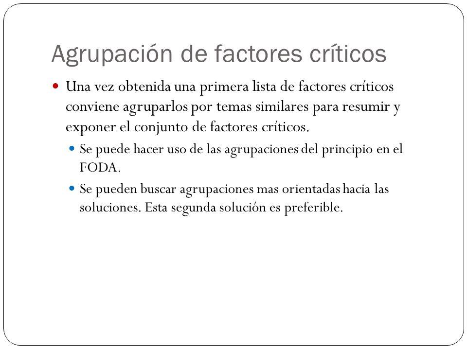 Agrupación de factores críticos