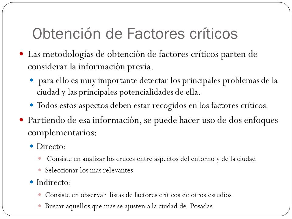 Obtención de Factores críticos