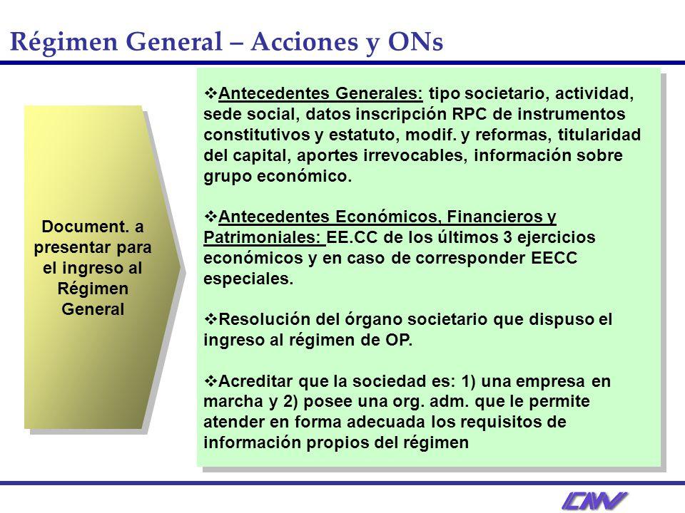Document. a presentar para el ingreso al Régimen General