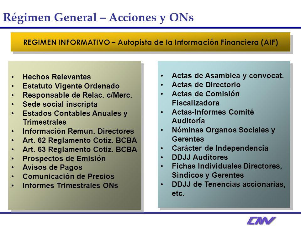 REGIMEN INFORMATIVO – Autopista de la Información Financiera (AIF)