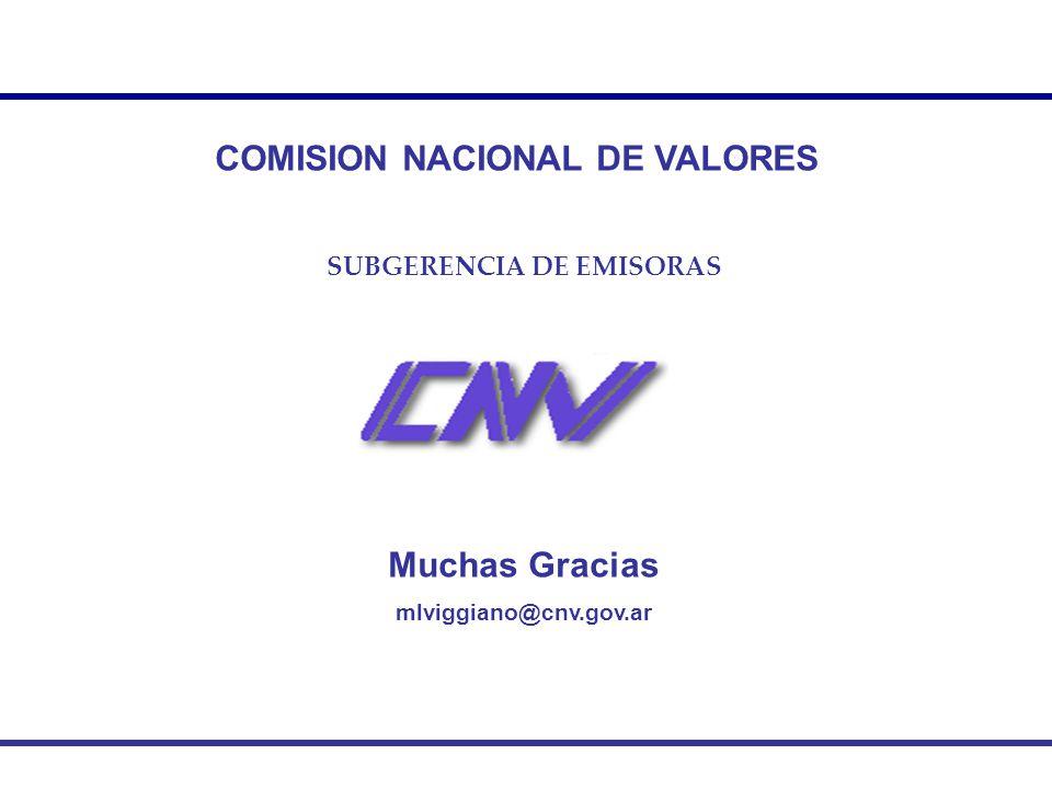 COMISION NACIONAL DE VALORES SUBGERENCIA DE EMISORAS