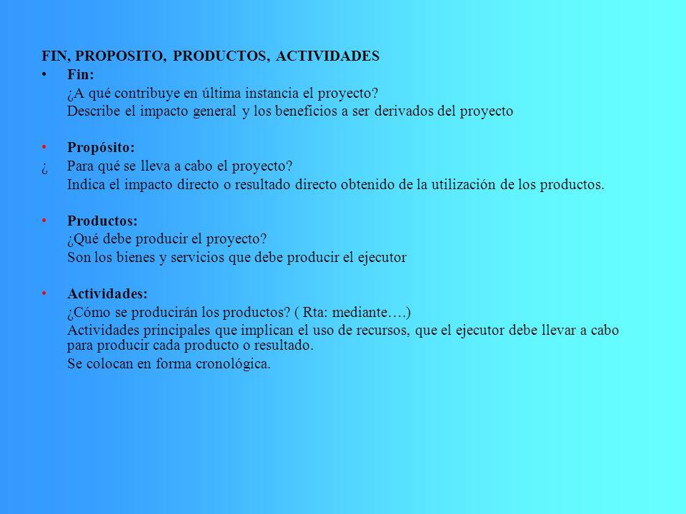FIN, PROPOSITO, PRODUCTOS, ACTIVIDADES